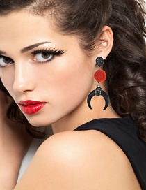Fashion Red+black Flower Shape Decorated Earrings