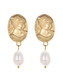 Fashion Gold Color Oval Shape Decorated Earrings