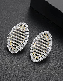Fashion Gold Color Hollow Out Design Oval Shape Earrings