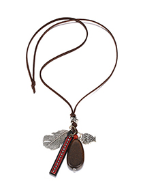 Fashion Brown Leaf Shape Pendant Decorated Necklace