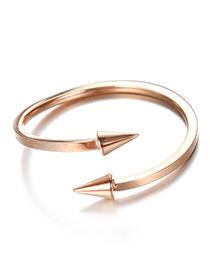 Fashion Rose Gold Arrow Shape Decorated Pure Color Opening Ring