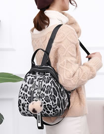 Fashion Gray Leopard Pattern Decorated Backpack