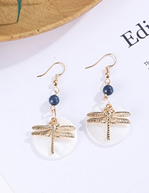 Fashion Gold Color Dragonfly Shape Decorated Earrings