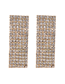 Fashion Gold Color Full Diamond Decorated Square Shape Earrings