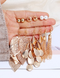Fashion Gold Color Pure Color Decorated Earrings(6pairs)