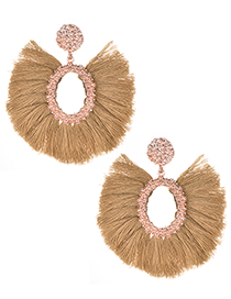 Fashion Khaki Oval Shape Decorated Tassel Earrings