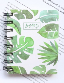 Fashion White+green Leaf Pattern Decorated Notebook(100 Sheets)