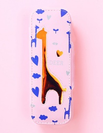 Fashion Light Pink Giraffe Pattern Decorated Pencil Case