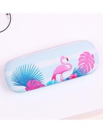 Fashion Blue Flamingo Pattern Decorated Glasses Case