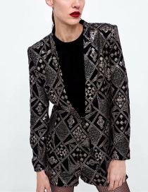 Fashion Black Sequins Decorated Pure Color Coat