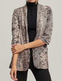 Fashion Multi-color Snake Skin Pattern Decorated Coat