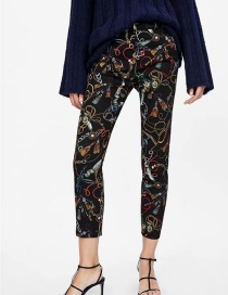 Fashion Black Color Matching Decorated Trousers