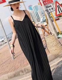 Fashion Black Pure Color Decorated Suspender Dress