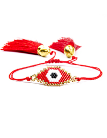 Fashion Red+black Eye Shape Decorated Tassel Bracelet