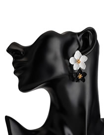 Fashion White+black Flower Shape Decorated Earrings