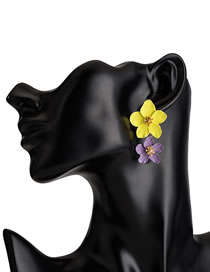 Fashion Yellow+purple Flower Shape Decorated Earrings