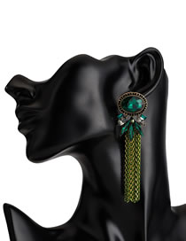 Fashion Green Diamond Decorated Earrings