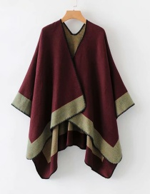 Fashion Claret Red Color Matching Decorated Shawl