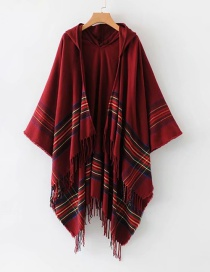 Fashion Claret Red Stripe Pattern Decorated Shawl