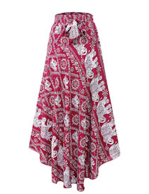 Fashion Red Elephant Pattern Decorated Simple Skirt