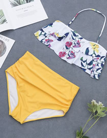 Sexy White+yellow Flowers Pattern Design High Waist Bikini