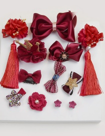Fashion Red Flower Shape Decorated Hair Clip (12 Pcs )