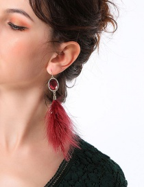 Fashion Claret Red Feather Decorated Pure Color Earrings