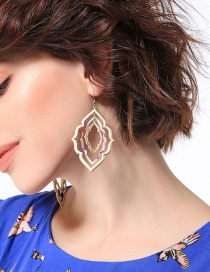 Fashion Gold Color Hollow Out Flower Shape Design Earrings