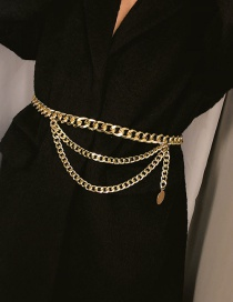 Fashion Gold Color Multi-layer Design Pure Color Body Chain