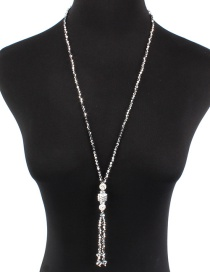 Simple Silver Color Diamond Decorated Long Necklace