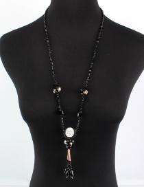 Fashion Black Diamond&bead Decorated Necklace