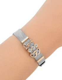 Fashion Silver Color+rose Gold Diamond&heart Shape Decorated Simple Bracelet