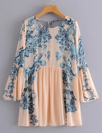 Fashion Pink Flowers Pattern Decorated Simple Dress