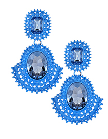 Exaggerated Blue Hollow Out Design Pure Color Earrings