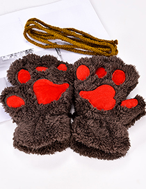 Fashion Dark Coffee Cartoon Bear Paw Shape Design Gloves