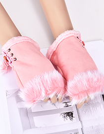 Fashion Pink Pure Color Design Drawstring Gloves