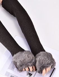 Fashion Dark Gray Pure Color Decorated Long Gloves