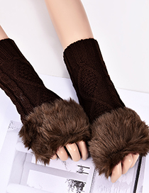 Fashion Dark Brown Rhombus Shape Pattern Design Gloves