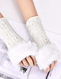 Fashion White Diamond Decorated Pure Color Gloves