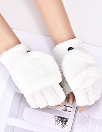 Fashion White Pure Color Decorated Simple Gloves