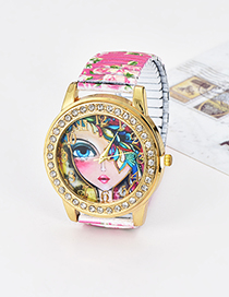 Fashion Plum Red Girl&flowers Pattern Decorated Watch