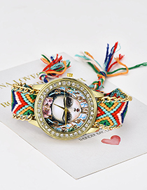 Fashion Multi-color Girl Pattern Design Hand-woven Strap Watch