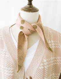 Fashion Pink Dots Pattern Design Knitted Scarf