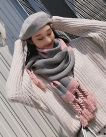 Fashion Pink+gray Braids Shape Decorated Thicken Scarf