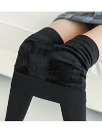 Fashion Black Pure Color Design Warm Ankle Leggings