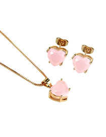 Elegant Light Pink Diamond Decorated Heart Shape Jewelry Sets