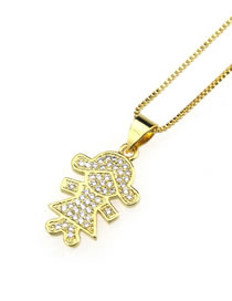 Elegant Gold Color Skater Girl Pendant Decorated Necklace