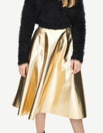 Fashion Gold Color Pure Color Decorated A-line Skirt