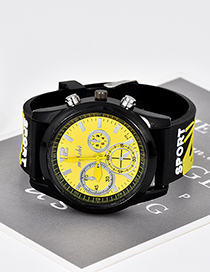 Fashion Yellow+black Color Matching Decorated Simple Watch