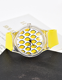 Fashion Yellow Pure Color Decorated Simple Watch